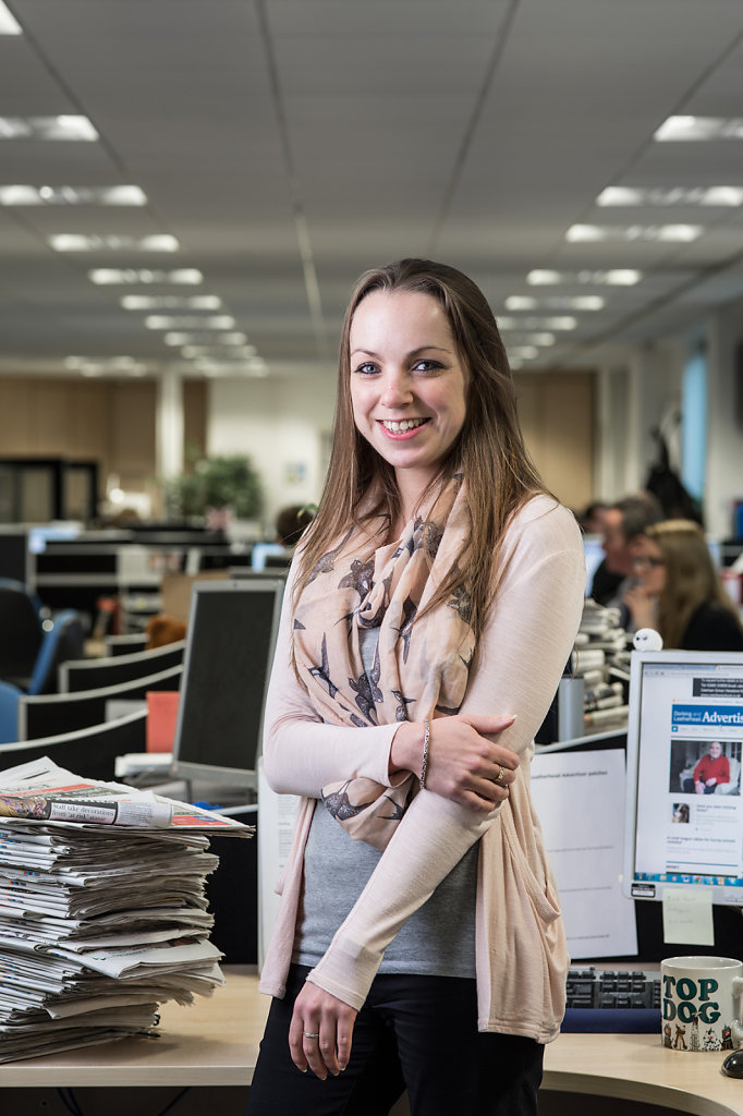 Deanne Blaylock photographed in the offices of The Dorking Advertiser