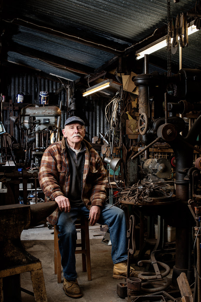 Peter Parkinson photographed in his workshop