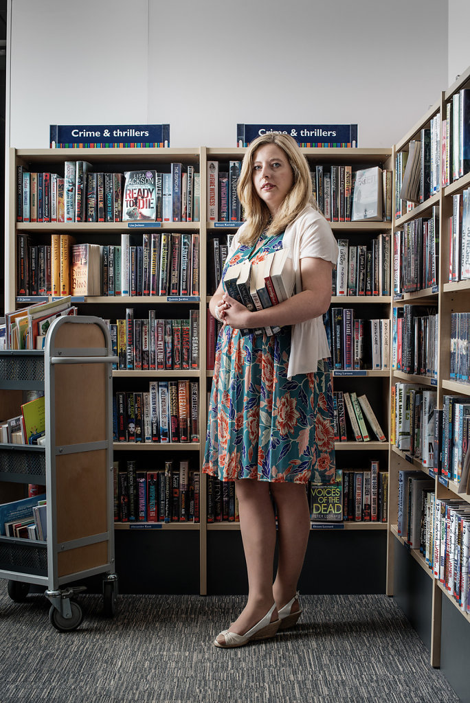 Rebecca Catterall photographed in the Dorking Library